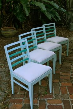"""One of my recent """"reclaimed"""" projects. Old church chairs turned into beach/cottage style."""