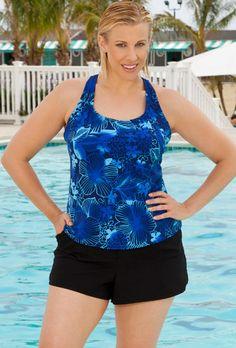 Chlorine Resistant! Aquabelle Blue Floral Plus Size DD Cup Racer Back