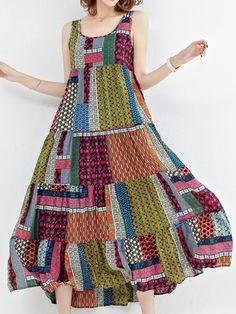 Patchwork vintage sans manches o-cou longues robes maxi # Robes Source b Women's Dresses, Dresses Online, Fashion Dresses, Summer Dresses, Loose Dresses, Printed Dresses, Sleeve Dresses, Cheap Dresses, Casual Dresses