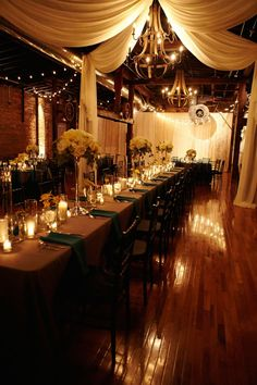 This indoor reception decor takes our breath away! So cozy and romantic