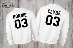 Bonnie Clyde 03 Set of 2 Couple Crewnecks, Bonnie Clyde 03 Set of 2 Couple Sweaters 100% cotton Tee, WHITE, UNISEX