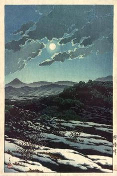 """Karikachi Pass"" by Kawase Hasui, woodblock print, 1927 (published by Bijutsusha)"