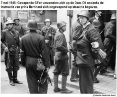 May 7,1945. Members of the BS (Binnenlandse Strijdkrachten) gather, with their wapens, at Dam square in Amsterdam despite instructions from Prins Bernard to appear without wapens. Photo Gerard de Boer. #amsterdam #worldwar2 #BinnenlandseStrijdkrachten #Dam