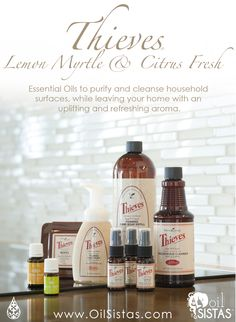 Thieves essential oil is named for four thieves in France who covered themselves in cloves, rosemary, and other aromatics while robbing. Myrtle Essential Oil, Thieves Essential Oil, Essential Oil Diffuser, Essential Oil Blends, Young Living Thieves, Young Living Oils, Young Living Essential Oils, Natural Cures, Keep It Cleaner