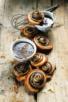 chocOlate swirl pastries with hot chocolate