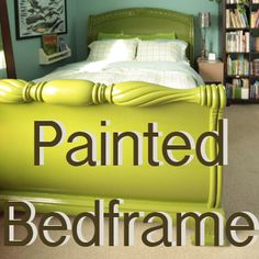How to Paint a Wooden Bed Frame…. This will be GREAT to have for when I decide to finally paint Judd and I's bed frame. I'm thinking a pretty teal color to go with our black and white bed spread/shelves. Black Painted Furniture, Iron Bed Frame, White Bed Frame, Bed, Painted Bed Frames, Bed Frame, Diy Headboard Wooden, White Bedding, Furniture