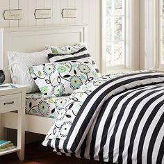 Cottage Stripe Duvet Cover & Pillowcases on pbteen.com (2012 PBDorm)