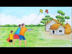 How to draw scenery of Kite flying Step by step Easy Drawings Sketches, Cute Easy Drawings, Oil Pastel Art, Pastel Drawing, Oil Pastels, Drawing Lessons For Kids, Art Drawings For Kids, Scenery Paintings, Indian Art Paintings