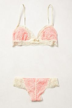 Eberjey Laced Coral Set / anthropologie
