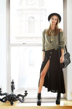 Slouch top, maxi skirt, lace up boots