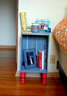 Mommy Monologue: Spring Break DIY--Wood Crate Night Stands