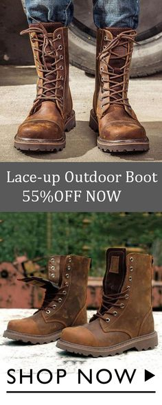 8fa148cb70634 Menstache Lace-up Outdoor Middle-top Boot