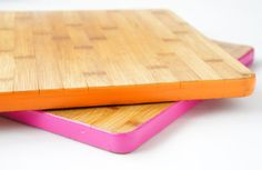 Add some excitement to your cutting boards' lives by painting the edges.