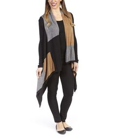 Another great find on #zulily! Camel & Black Square Sidetail Open Cardigan by Olivia M #zulilyfinds