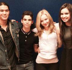 Booboo Stewart (Jay), Cameron Boyce (Carlos), Dove Cameron (Mal), and Sofia Carson (Evie)