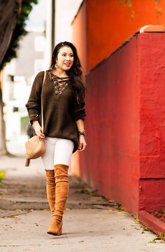cute & little   petite fashion blog   olive lace-up sweater, white jeans, stuart weitzman over-the-knee highland boots toffee suede, gucci disco   transition outfit