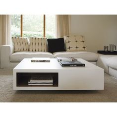 Low square coffee table with integrated magazine rack VERA ❤ liked on Polyvore featuring home, furniture, tables, accent tables, square coffe tables, square coffee table, low table, low coffee table and low square coffee table