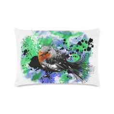 Red Robin Custom Rectangle Pillow Cases (one side) Cushions, Pillows, One Sided, Xmas Gifts, Pillow Cases, Robin Redbreast, Splatter Art, Comfy, Birds