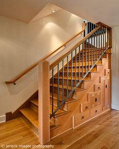 basement stairs railing. cabinets under stairs could work in basement  Railing Stair Newel Post Height Home How To DIY Pinterest