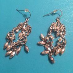"""Dangle Chandelier Earrings Dangle chandelier earrings with silver beads and studs. About 1.5-2"""" long each. Jewelry Earrings"""