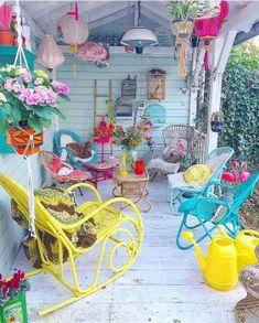 Hippie Boho Garden And Outdoor Living Ideas Outdoor Rooms, Outdoor Gardens, Outdoor Living, Outdoor Decor, Outdoor Life, Bohemian House, Bohemian Decor, Bohemian Porch, Deco Cool