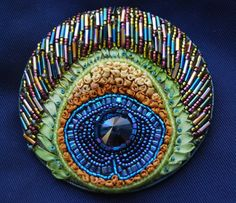Beaded Peacock Brooch- From 2009 issue of Pieceworks - Beautiful Brooches competition