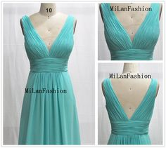 A Line Deep V-neck Light green Strapless Long Chiffon Prom Dress  $142.00
