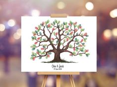 Instant Download Wedding Fingerprint Tree Chloe decoration   Etsy Wedding Fingerprint Tree, Fingerprint Art, Baby Shower Tree, Birthday Party Decorations, Wedding Decorations, Presentation Pictures, Gift Drawing, Tree Wedding, Party Gifts