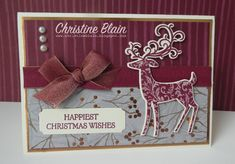 Stampin' Up! Dashing Deer In Merry Merlot Diy Christmas Tags, Happy Christmas Wishes, Stampin Up Christmas, Christmas Deer, Christmas Crafts, Winter Christmas, Merry Christmas, Xmas Cards, Holiday Cards