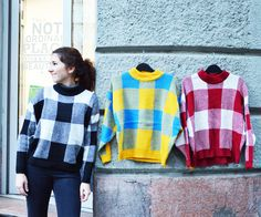 #checked #sweater #limited #bicolor #szputnyikshop Unique Vintage, The Past, Brand New, Pullover, Sweatshirts, Prints, Sweaters, Color, Collection