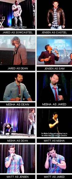 (gif set) Jared, Jensen, Misha, and Matt as Each Other and Each Other's Characters