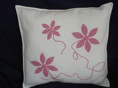 Cream Handmade cushion finished with 3 appliqued by debilou