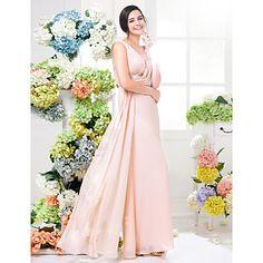 Floor-length+Chiffon+Bridesmaid+Dress+Sheath+/+Column+V-neck+Plus+Size+/+Petite+with+Lace+/+Sash+/+Ribbon+/+Criss+Cross+–+USD+$+89.99