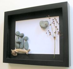 Personalized Family Gift and Custom Stone Art Work - Stone Art Work- Family of Three on Etsy, $60.00 CAD
