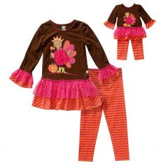 """""""Turkey Queen"""" Thanksgiving Themed Legging set with Matching Outfit for 18 inch Play Dolls"""