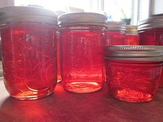 Crabapple jelly - I used ~5 lbs crabapples and simmered 2 hrs to make 13 c juice. Added 9 3/4 c sugar and simmered for hours until it became jelly. The darker the fruit, the darker the jelly. (cc)