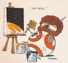 BB-Bob Ross | Star Wars humour | #bb8 #bobross #painting #happytrees #starwars #starwarsart #starwarsfanart