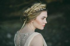 Fishtail braid paired with a pretty headpiece | Jess Petrie Photography