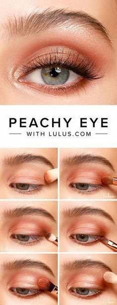 Get a pretty, yet simple eye make-up look with our Peachy Eyeshadow Tutorial! Get a pretty, yet simple eye make-up look with our Peachy Eyeshadow Tutorial! , Achieve a pretty, but easy eye makeup look with our Peachy Eyeshadow T. Simple Eye Makeup, Eye Makeup Tips, Cute Makeup, Peachy Makeup Look, Simple Eyeshadow Looks, Makeup Hacks, Summer Eye Makeup, Prom Makeup, Natural Look Makeup