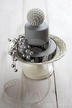 Silver & Black Mini Cake