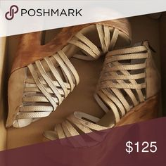 Sandals 5 inch heel with 1-3/4 inch platform. Entire footbed is cushioned making them extremely comfortable for long wear. Although never worn, natural markings are all over giving them a bohemian worn-in appearance. More pics upon request. Freebird by Steven  Shoes Heels