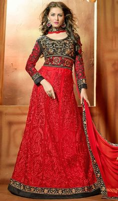 Spell charm and royalty clad in this black and red embroidered net floor length Anarkali dress. This stunning dress is displaying some terrific embroidery done with butta, resham and stones work.  #ExcellentEveningWearDesign