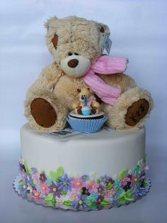 Teddy bear cake by bubolinkata, via Flickr...whoa...LOOK at this beautiful cake...the Flowers, the Teddy...