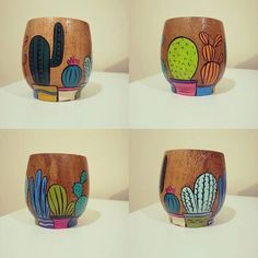 mates personalizados de madera.. medio limon Painted Pots, Flower Pots, Decoupage, Pottery, Wood, Crafts, Painting, Home Decor, Painted Pottery