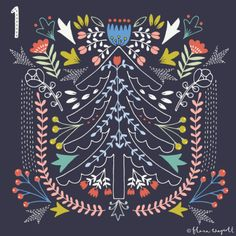 Flora Waycott Christmas Advent 2015 Day 1. This year's advent is inspired by kantha embroidery from the Bengal region and folk art xx