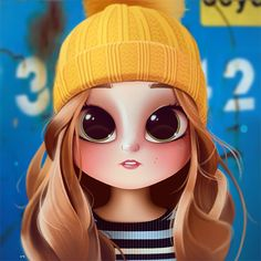 Cartoon, Portrait, Digital Art, Digital Drawing, Digital Painting, Character Design, Drawing, Big Eyes, Cute, Illustration, Art, Girl, Beanie, Katherine McNamara