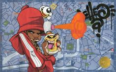 An original one off piece by Cheo Illustrated on a 'Welcome To Bristol' Travel West Tour Guide Map Includes a gold embossed Cheo stamp. Graffiti Doodles, Graffiti Cartoons, Dope Cartoons, Dope Cartoon Art, Graffiti Characters, Graffiti Drawing, Graffiti Murals, Art Drawings Sketches, Cartoon Drawings