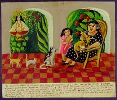"""Just one of many amazing paintings of MEXICAN RETABLOS AND EX-VOTOS from the Mexican blog """"Grace to Thank:  MEXICAN RETABLOS AND EX-VOTOS (translation)."""