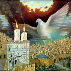 Hebrew Paintings | ... Israel Rubinstein - Dove Of Peace | Jewish Art Oil Painting Gallery