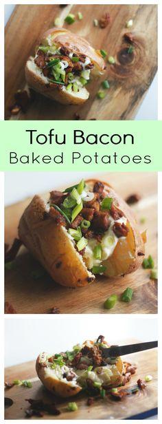 Tofu Bacon Baked Potatoes - Two City Vegans